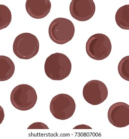 Seamless pattern brown dots on a white background. Vector.