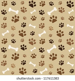 seamless pattern with brown footprints and bones