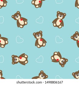 Seamless Pattern with Brown Teddy Bear with Red Heart on Blue Background
