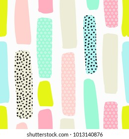 Seamless pattern with brush strokes in fresh pastel colors.  Abstract brushstroke background, colorful patter.