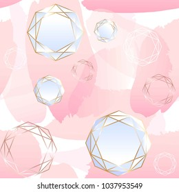 Seamless pattern. Brush strokes of rose pastel color, white and rose gold contour crystals. Abstract vector background.