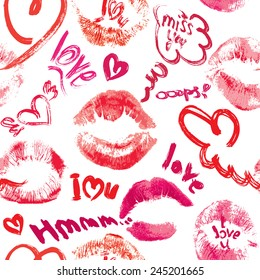 Seamless pattern with brush strokes and scribbles in heart shapes, lips prints and words LOVE, I LOVE YOU - Valentines Day Background.