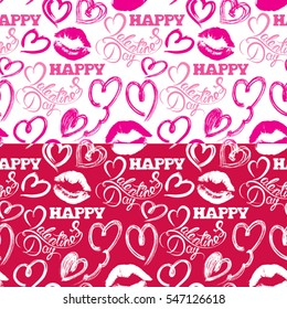 Seamless pattern with brush strokes and scribbles in heart shapes, lips prints and calligraphic hand written text Happy Valentines Day, holiday background.