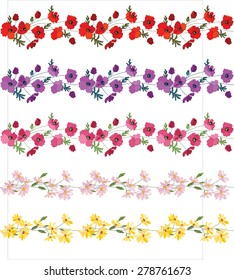Seamless pattern brush with stylized bright summer flowers. Cultivate flowers - poppy and daisy, different colors. Endless horizontal texture for your design.