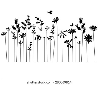Seamless pattern brush with stylized summer flowers. Endless horizontal texture. Contour, outline. Black silhouette.