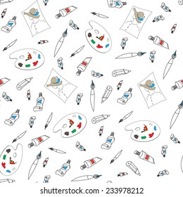 Seamless pattern of brushes and tubes of paint. Vector illustration.
