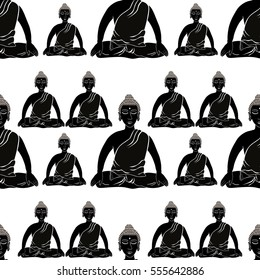 seamless pattern Buddha sitting in the lotus Indian meditation closed eyes  vector illustration