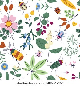 Seamless pattern with bugs, flowers and berries