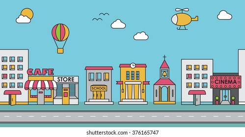 Seamless pattern of the buildings. Background for game. Cafe, cinema, store, church, apartment house,cottage,school, Hall, factory