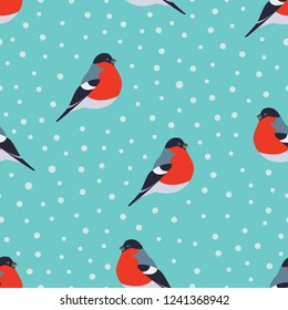 Seamless pattern with bullfinch and snow on green background. Seasonal winter natural pattern with bullfinch. Vector illustration.