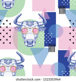 Seamless pattern with bulls and geometric shapes. Pop Art. Colorful background. Design for fabrics, wallpaper. Fashion print.