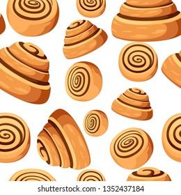 Seamless pattern. Bun with cinnamon. Freshly baked sweet cake. Baked pastry item. Flat vector illustration on white background.