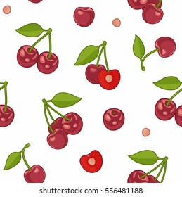 Seamless pattern with Bunches of juicy cherries, single berries and pit
