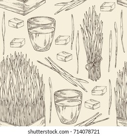 Seamless pattern with bundle of wheat grass and cocktail of juice wheat grass. Superfood. Vector hand drawn illustration.