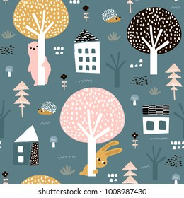 Seamless pattern with bunny, bear, hedgehog and floral elements, branches. Creative woodland background. Perfect for kids apparel,fabric, textile, nursery decoration,wrapping paper.Vector Illustration