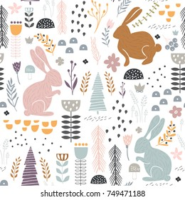 Seamless pattern with bunny, floral elements, branches. Creative woodland height detailed background. Perfect for kids apparel,fabric, textile, nursery decoration,wrapping paper.Vector Illustration