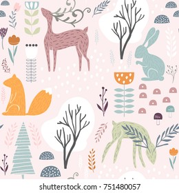 Seamless pattern with bunny, squirrel, deer. Creative woodland height detailed background. Perfect for kids apparel, fabric, textile, nursery decoration, wrapping paper.Vector Illustration