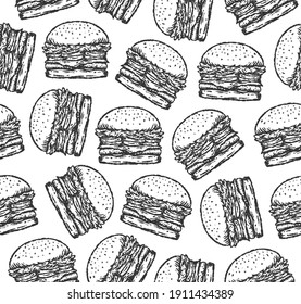 seamless pattern of burger illustration in paint brush drawing style.