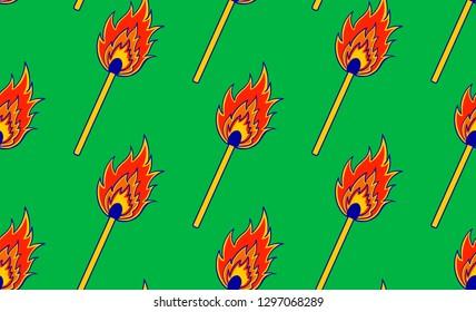 seamless pattern with a burning match