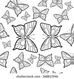 Seamless pattern of butterflies in black and white.