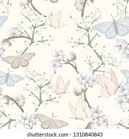 seamless pattern with butterflies and cotton flowers