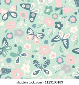 Seamless pattern with butterflies and flowers. Spring vector illustration in delicate, subtle colors. Feminine background, print for fabric.