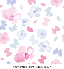Seamless pattern with butterflies and flowes. Floral background for design of fabric, paper, wrappers and wallpaper. Blue and pink.