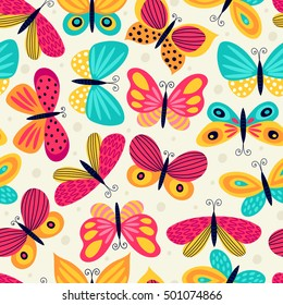 Seamless pattern with butterflies. Freehand drawing