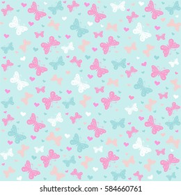 Seamless pattern with butterflies. Perfect for wallpaper, gift paper, pattern fills, web page background, spring and summer greeting cards.  Vector illustration