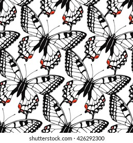 Seamless pattern with butterflies. Spring summer background. Vector illustration