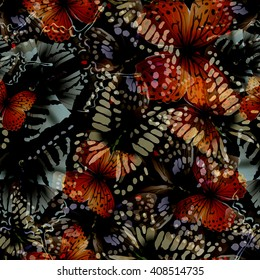 Seamless pattern from butterflies, vector illustration, clip-art