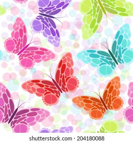 Seamless pattern with butterfly. Different colors abstract butterflies background. Great for web page background, surface textures, textile industry, wrapping.