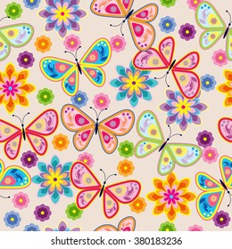 Seamless pattern with butterfly & flower