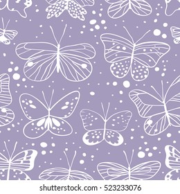 Seamless pattern with butterfly. Hand drawn vector illustration. Decorative elements for design. Creative art work