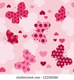 Seamless pattern with  butterfly, hearts. Cute seamless.