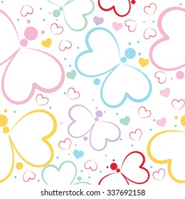Seamless pattern with butterfly and hearts on white background