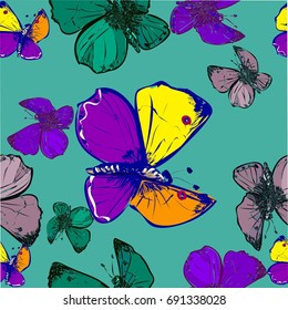Seamless pattern with butterfly  on yellow background with leaves