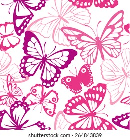 Seamless pattern with butterfly. Summer pink background with butterfly silhouettes