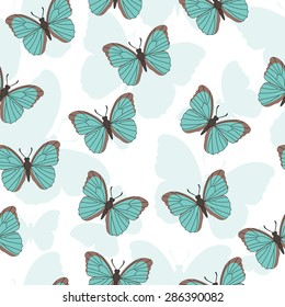 Seamless pattern with butterfly.  Vector pattern with turquoise butterfly Summer background.  Bright print for printing on fabric. Wallpaper with butterflies