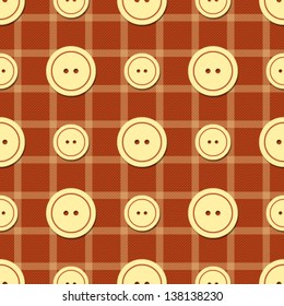 Seamless pattern with buttons of different sizes and stripes, endless background textures