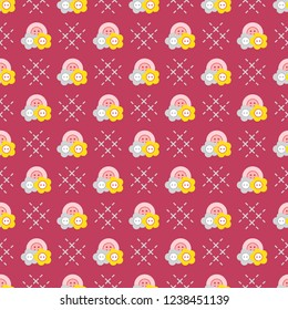 Seamless pattern with buttons. Sewing and needlework background. Template for design, fabric, print.