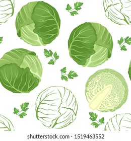 Seamless pattern with cabbage on a white background. Whole cabbage, half and outline image. Vector illustration of fresh vegetables in cartoon simple flat style.