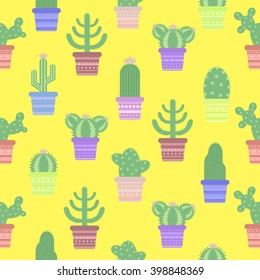 Seamless pattern with cacti in a pot. Icon of cactus flower. Desert plant