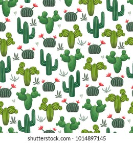 Seamless pattern with cacti, succulents and floral elements. Vintage vector botanical illustration in watercolor style.