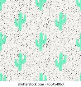 Seamless pattern with cactus and dots.