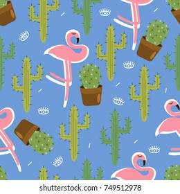 Seamless pattern with cactus. Pattern of cactus, flamingo. Cacti in pots. Vector background. Cute cartoon cactus and  flamingo pattern.