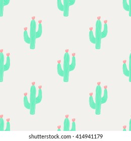 Seamless pattern with cactus and flowers in green and pink on cream background.