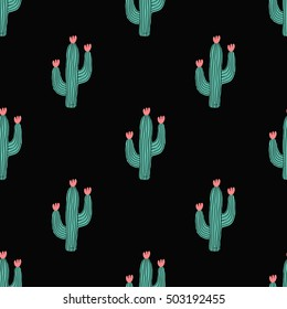Seamless pattern with cactus and flowers in green and pink on black background.