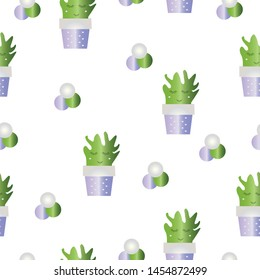 seamless pattern with cactus flowers - smiling cactus - white background