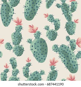 Seamless pattern. Cactus with flowers vector illustration.
